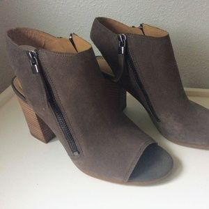 Franco Sarto Leather Peep Toe Booties